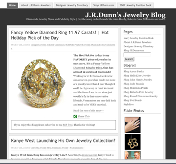 Retailer JR Dunn has a great blog - that refers people to their website, too.